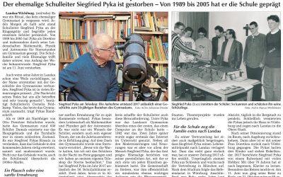 Im Andenken an den ehemaligen Schulleiter Siegfried Pyka